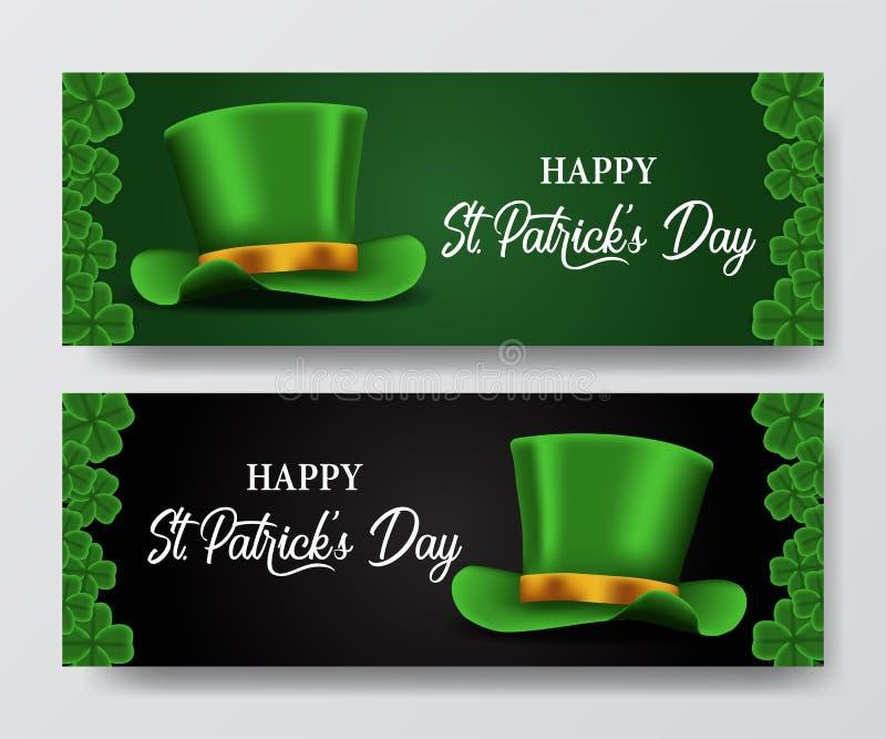 Шаблон знамени дня St. Patrick с иллюстрацией листьев и шляпы клевера shamrock иллюстрация штока