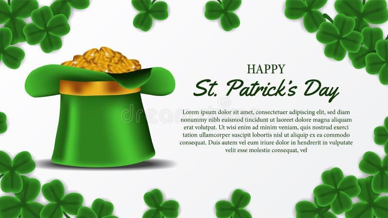 Шаблон знамени дня St. Patrick с иллюстрацией листьев клевера shamrock и золотой монетки в шляпе иллюстрация штока