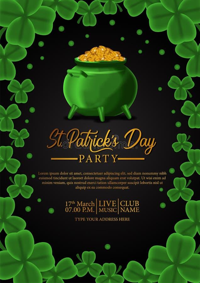 Шаблон знамени дня St. Patrick с иллюстрацией листьев клевера shamrock и золотой монетки в баке иллюстрация штока