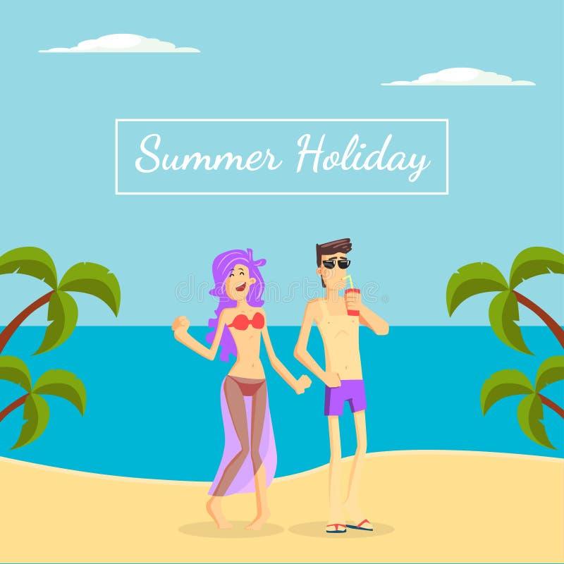 Шаблон знамени летнего отпуска, счастливая молодая пара идя на тропическую иллюстрацию вектора пляжа бесплатная иллюстрация