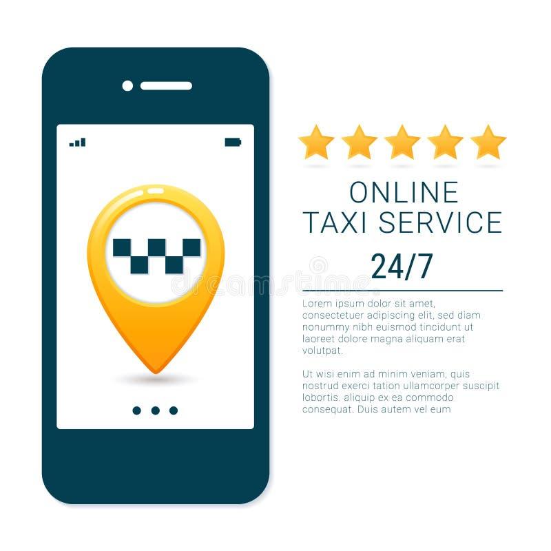Шаблон знамени обслуживания такси Онлайн передвижная концепция app обслуживания заказа такси Штыри пункта трассы GPS на smartphon иллюстрация штока
