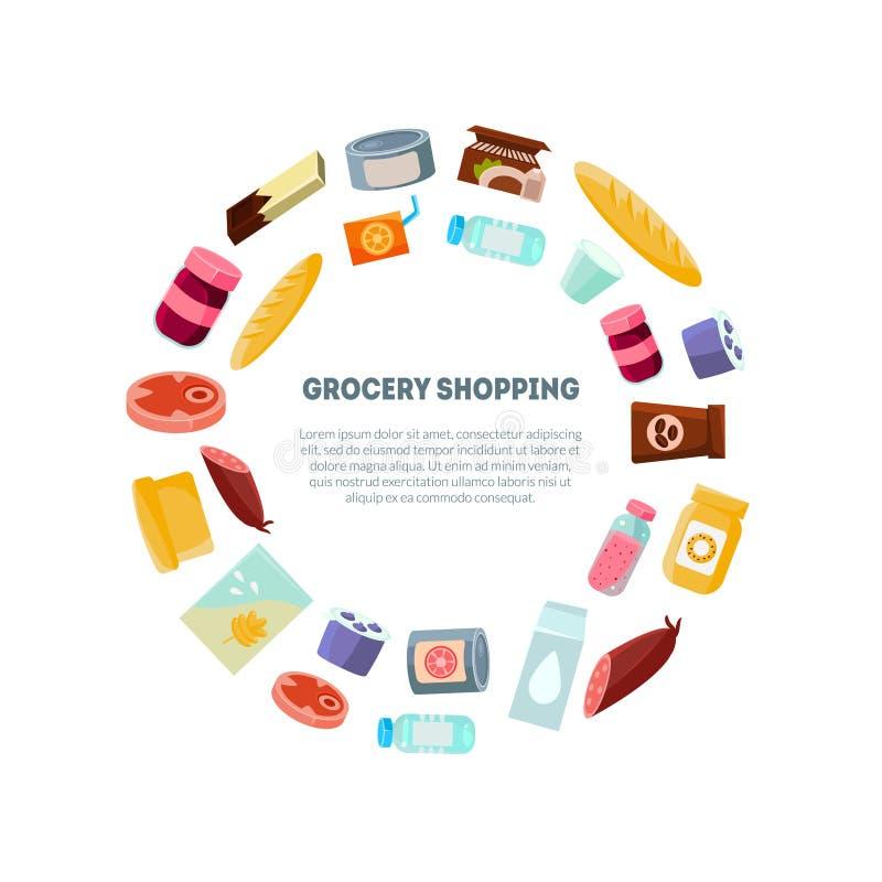 Шаблон знамени посещения магазина бакалеи, ежедневные продукты, гастроном в иллюстрации вектора круглой формы иллюстрация вектора