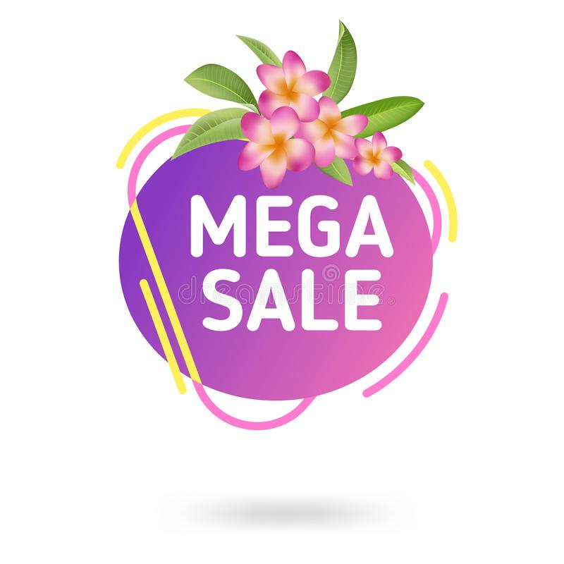 Шаблон знамени продажи лета Жидкостный абстрактный геометрический пузырь с троповыми цветками, тропический фон речи иллюстрация штока