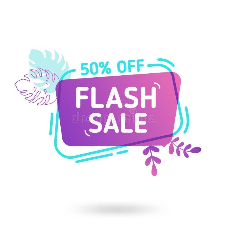 Шаблон знамени продажи лета Жидкостный абстрактный геометрический пузырь речи с троповыми цветками и фламинго, тропическим фоном иллюстрация штока