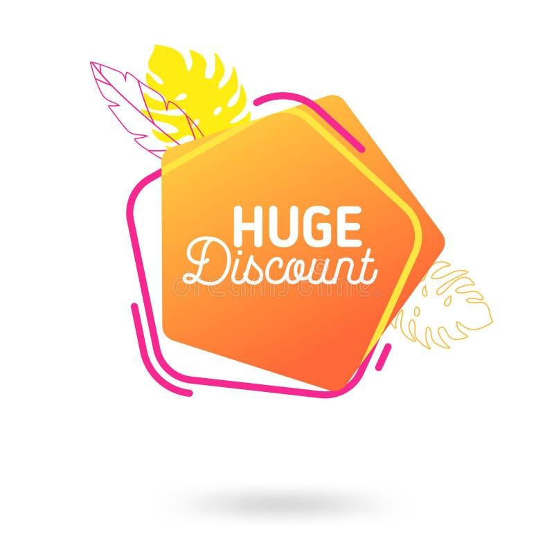 Шаблон знамени продажи лета Жидкостный абстрактный геометрический пузырь с троповыми цветками, тропический фон речи иллюстрация вектора