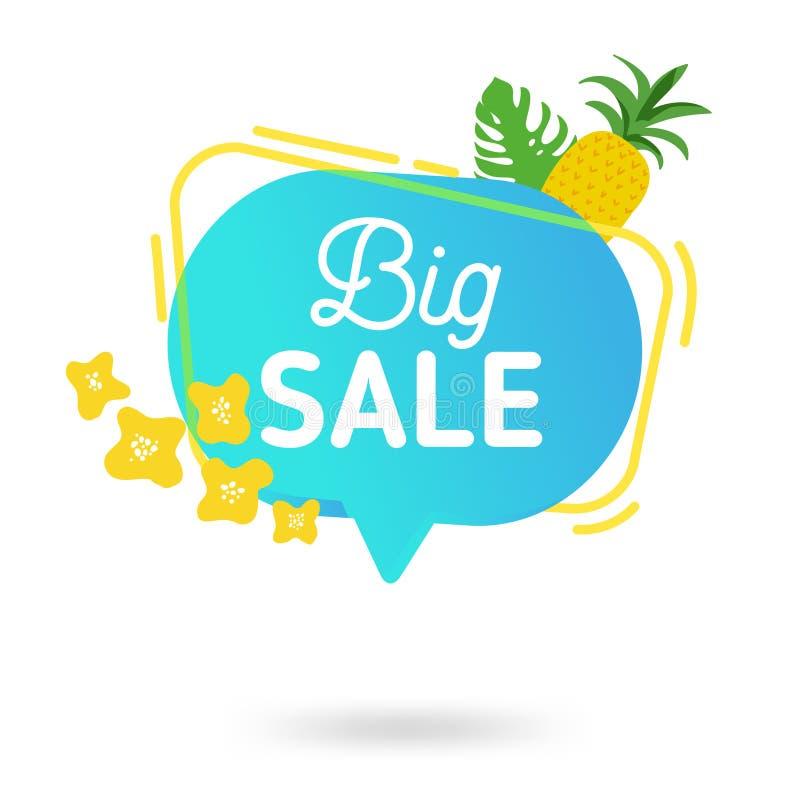 Шаблон знамени продажи лета Жидкостный абстрактный геометрический пузырь речи с троповыми цветками и фламинго, тропическим фоном иллюстрация вектора