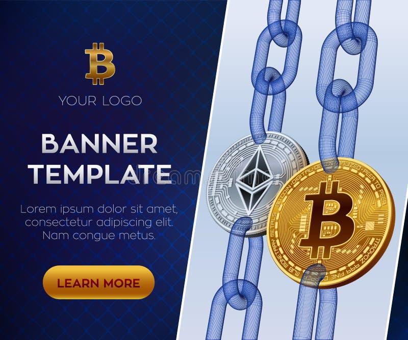 Шаблон знамени секретной валюты editable Bitcoin Ethereum равновеликие физические монетки бита 3D Золотые bitcoin и серебр Ethere иллюстрация вектора