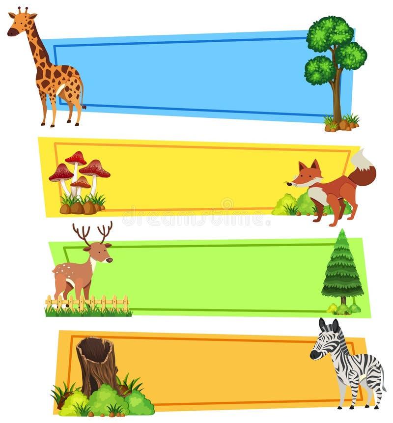 Шаблон знамени с дикими животными иллюстрация штока