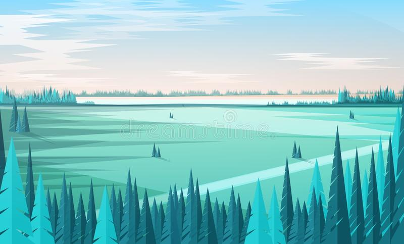 Шаблон знамени с естественными пейзажем или ландшафтом, зелеными coniferous лесными деревьями на переднем плане, большом поле, го иллюстрация вектора