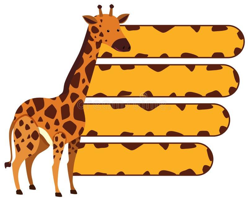 Шаблон знамени с одичалым жирафом иллюстрация вектора