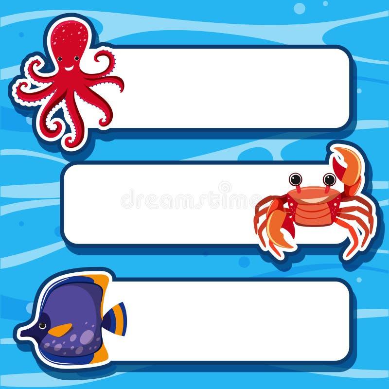 Шаблон знамени с 3 типами морских животных иллюстрация вектора