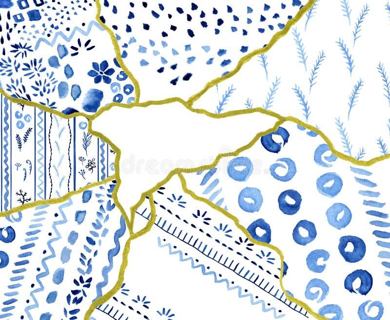 Шаблон знамени треугольника, отказы золота с голубым орнаментом - концепцией kintsugi, золотыми crinkles, сломленной текстурой го иллюстрация штока