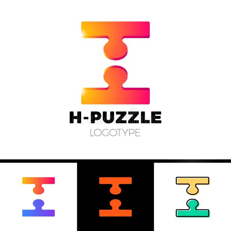 шаблон значка логотипа письма 3d h в отрицательном космосе в двухкусочном головоломки Простая технология, сеть, цифровая, логотип иллюстрация штока