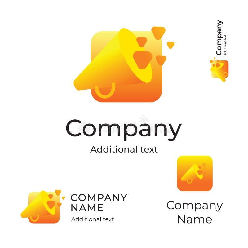 Шаблон значка App символа бренда идентичности современного логотипа диктора яркий и концепции кнопки установленный стоковое фото