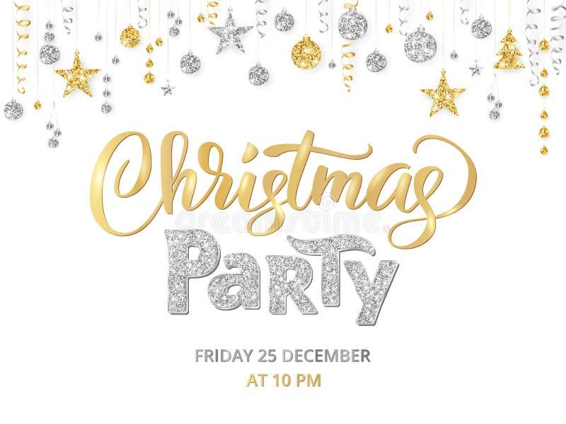 Шаблон, золото и серебр плаката рождественской вечеринки на белизне Литерность написанная рукой Изолированная золотая граница ярк иллюстрация штока