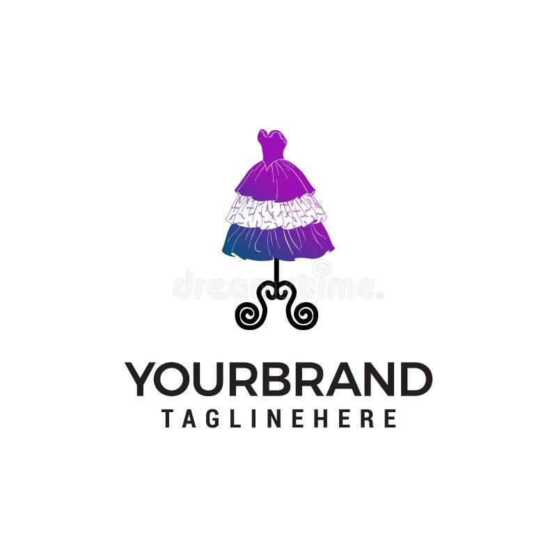 Шаблон идеи проекта логотипа платья свадьбы иллюстрация вектора