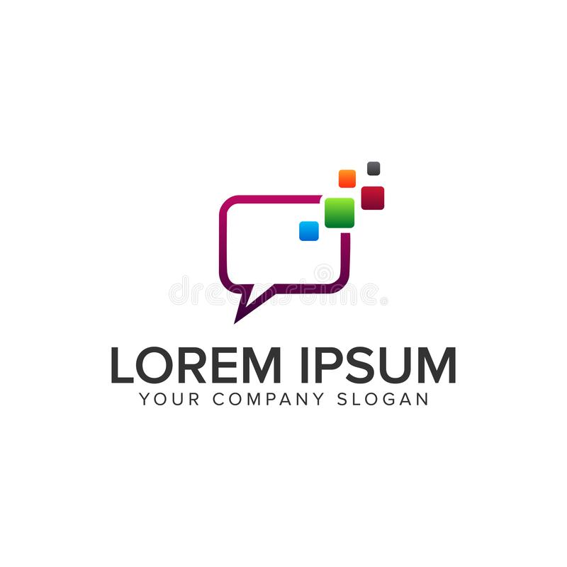 Шаблон идеи проекта логотипа средств массовой информации болтовни полно editable бесплатная иллюстрация