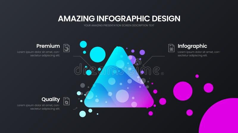 шаблон иллюстрации вектора 3 аналитиков треугольника варианта Отчет о красочной статистики перепада органической infographic иллюстрация вектора