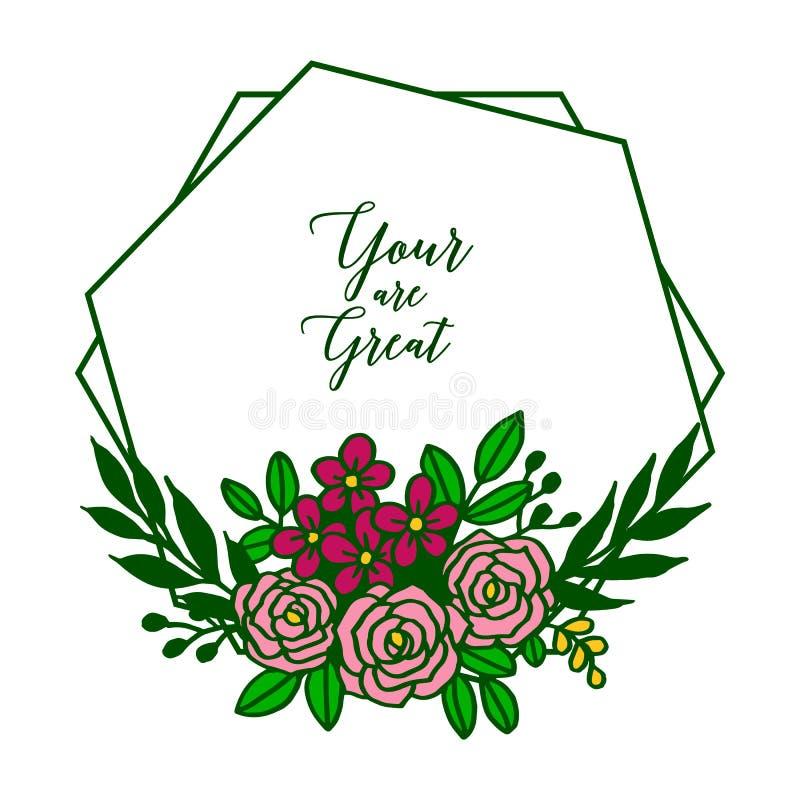 Шаблон иллюстрации вектора ваш большой с рамкой очень красивых лист флористической бесплатная иллюстрация