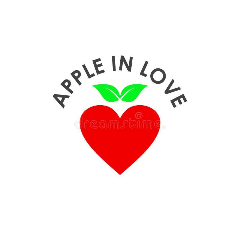 Шаблон иллюстрации Apple in Love Vector Design иллюстрация вектора