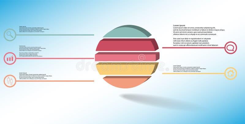 шаблон иллюстрации 3D infographic с выбитым кольцом разделенным до 5 частей бесплатная иллюстрация