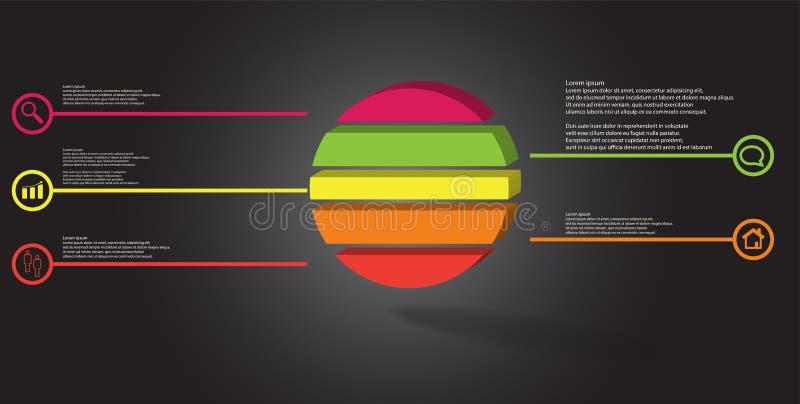 шаблон иллюстрации 3D infographic с выбитым кольцом разделенным до 5 частей иллюстрация штока