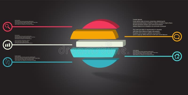 шаблон иллюстрации 3D infographic с выбитым кольцом разделенным до 5 частей иллюстрация вектора