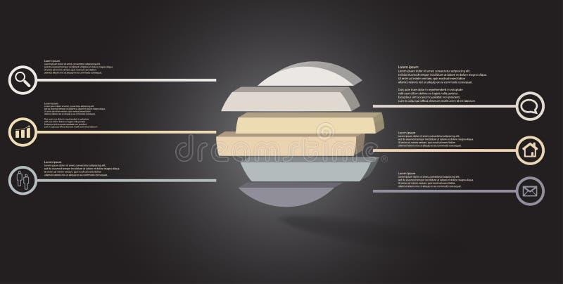 шаблон иллюстрации 3D infographic с выбитым кольцом разделенным до 6 частей бесплатная иллюстрация