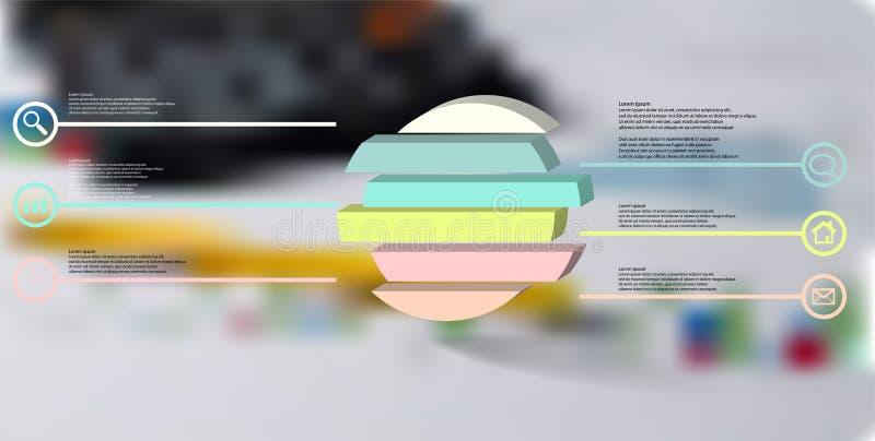 шаблон иллюстрации 3D infographic с выбитым кольцом разделенным до 6 частей иллюстрация вектора