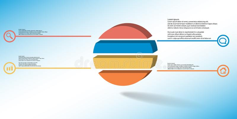 шаблон иллюстрации 3D infographic с выбитым кольцом разделенным до 4 части иллюстрация штока