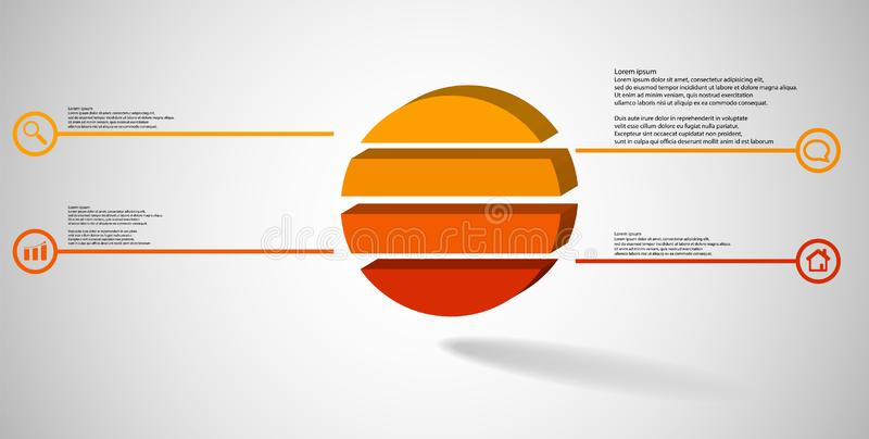 шаблон иллюстрации 3D infographic с выбитым кольцом разделенным до 4 части бесплатная иллюстрация