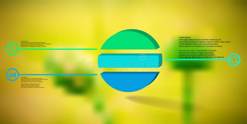 шаблон иллюстрации 3D infographic с выбитым кольцом разделенным до 3 части иллюстрация штока
