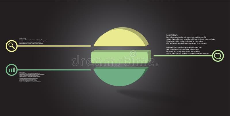шаблон иллюстрации 3D infographic с выбитым кольцом разделенным до 3 части бесплатная иллюстрация