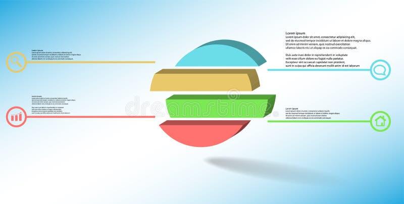 шаблон иллюстрации 3D infographic с выбитым кольцом разделенным до 4 части иллюстрация вектора