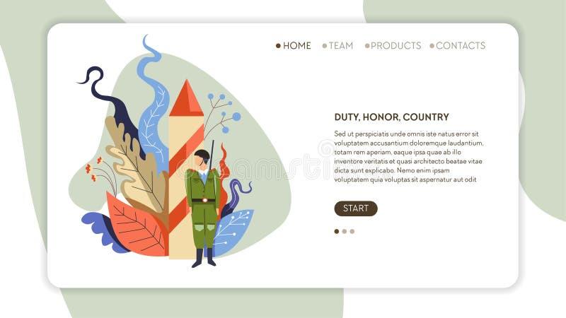 Шаблон интернет-страницы военной службы страны почетности обязанности иллюстрация штока