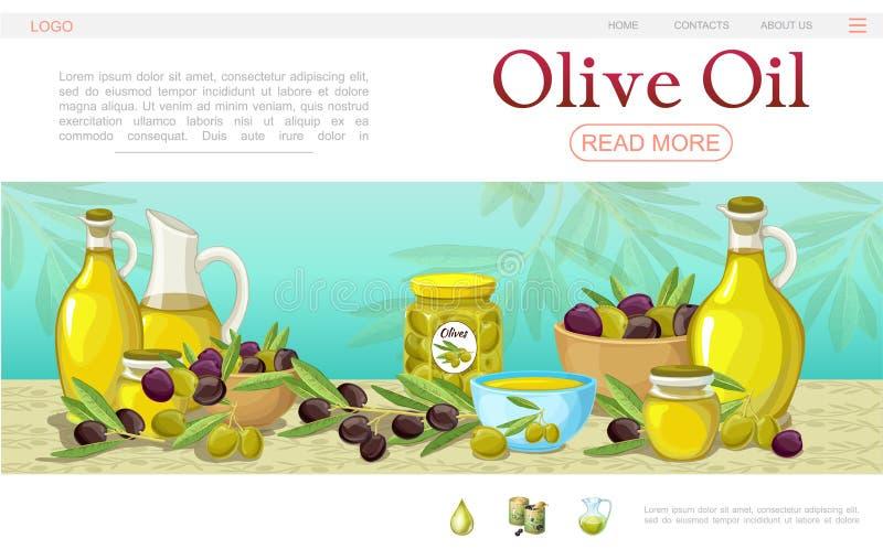 Шаблон интернет-страницы оливкового масла шаржа иллюстрация вектора