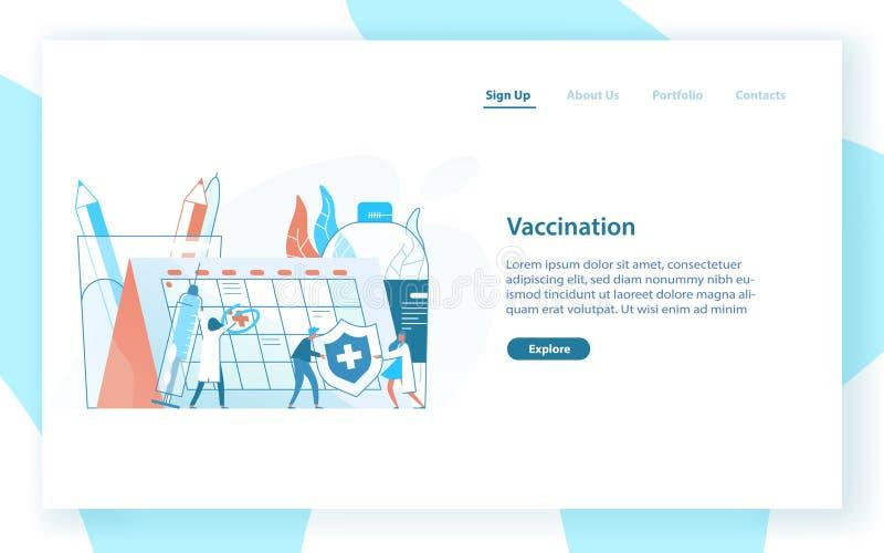 Шаблон интернет-страницы с крошечными докторами или врачами, гигантским шприцем с вакциной и календарем или расписанием вакциниро иллюстрация вектора