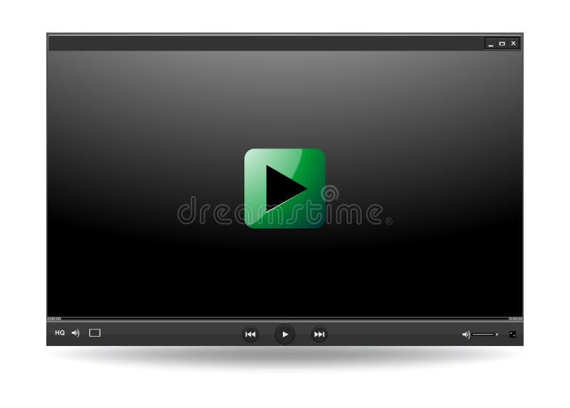 Шаблон интерфейса видео-плейер для сети и передвижных apps, вектора иллюстрация штока