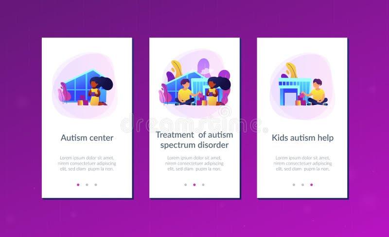 Шаблон интерфейса приложения центра аутизма иллюстрация вектора