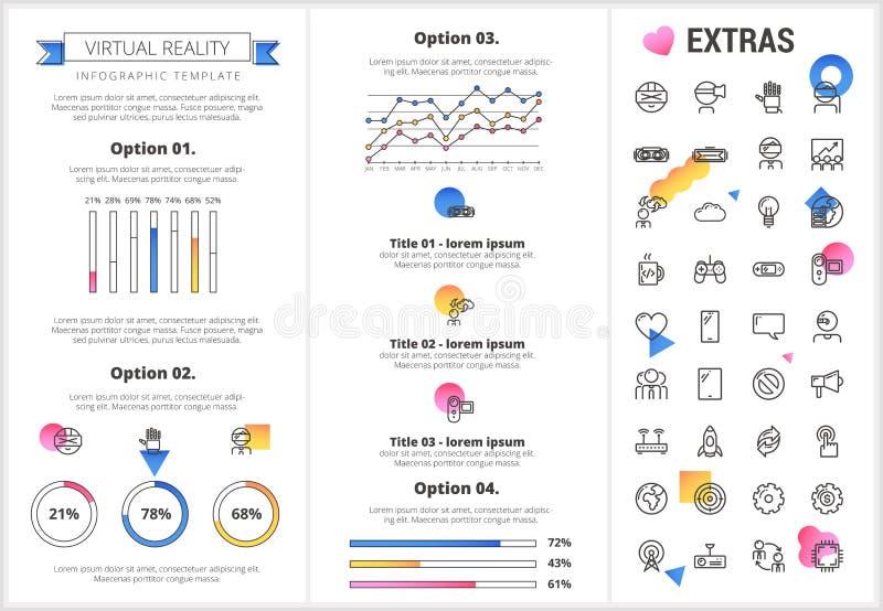 Шаблон и элементы виртуальной реальности infographic иллюстрация вектора