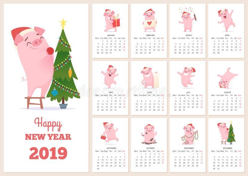 Шаблон 2019 календарей Характер свиньи торжества Нового Года на месяцах дневника плана вектора страниц плановика календаря дизайн иллюстрация вектора