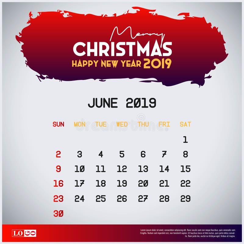 Шаблон календаря 2019 -го в июне предпосылка заголовка веселого рождества и счастливого Нового Года красная иллюстрация штока