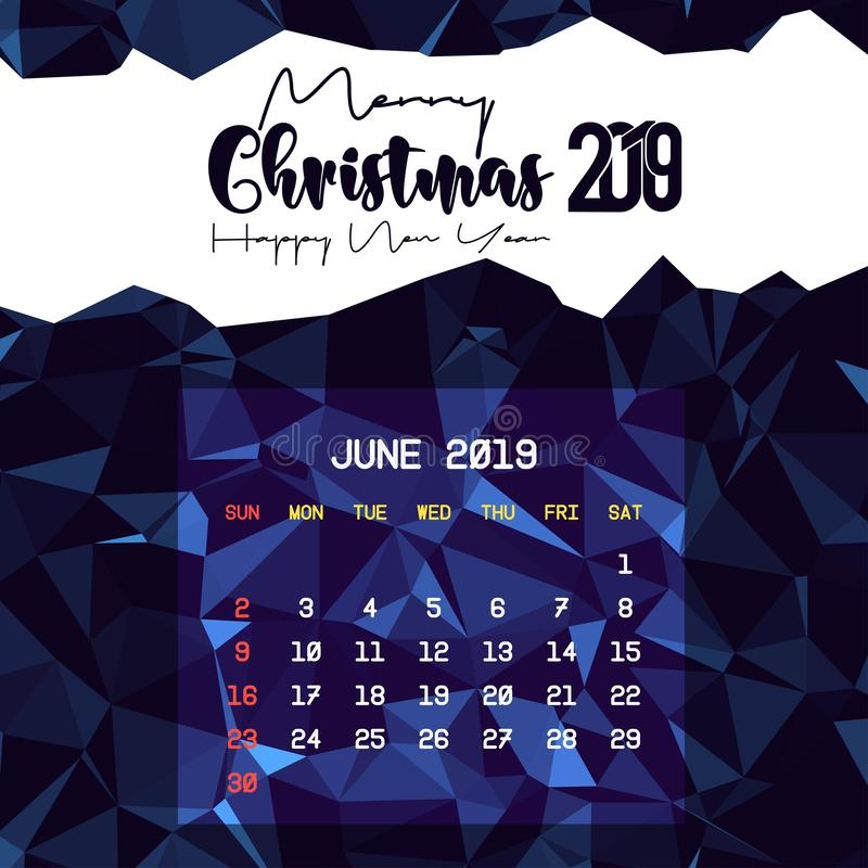 Шаблон календаря июня 2019 иллюстрация штока