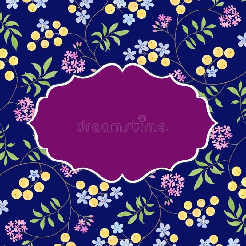 Шаблон карточки акварели с флористическим дизайном иллюстрация штока