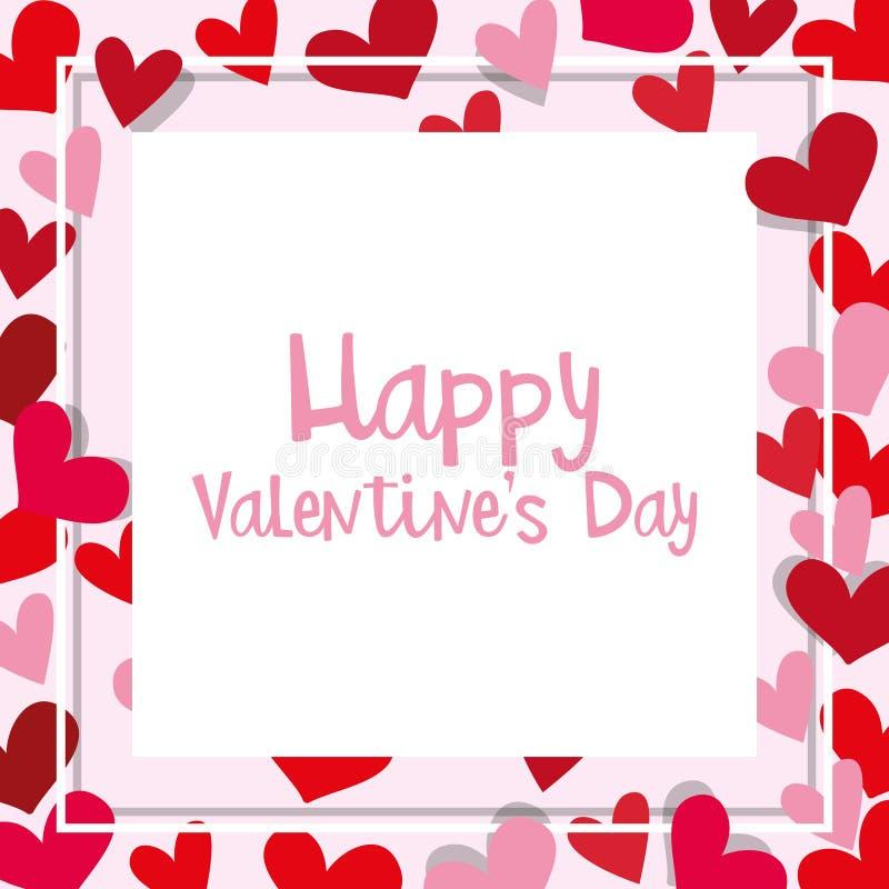 Шаблон карточки валентинки с рамкой сердца иллюстрация штока