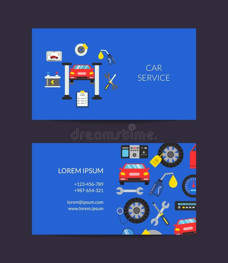 Шаблон карточки вектора для автоматического обслуживания иллюстрация штока