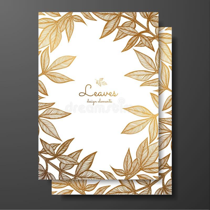 Шаблон карточки золота флористический с листьями пиона Рамка шаблона для поздравительной открытки дня рождения и, приглашения сва бесплатная иллюстрация