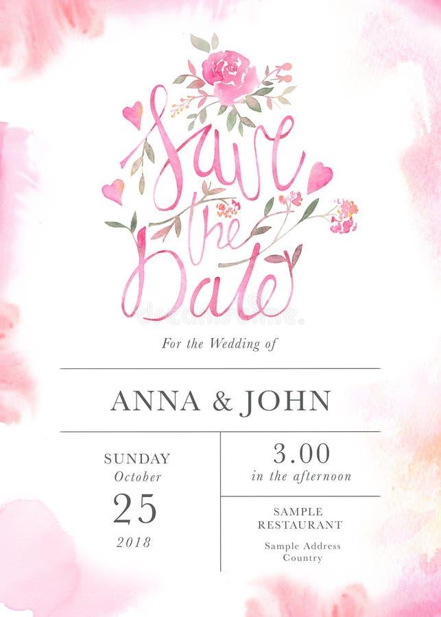 Шаблон карточки приглашения свадьбы с цветками акварели розовыми иллюстрация штока