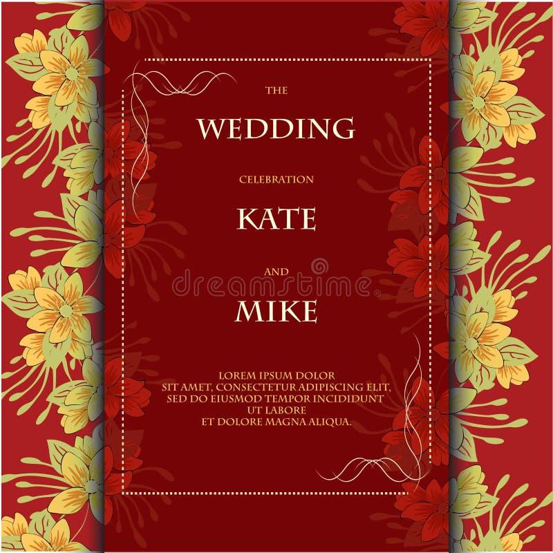 Шаблон карты приглашения свадьбы с предпосылкой цветка флористической вектор экрана иллюстрации 10 eps иллюстрация штока