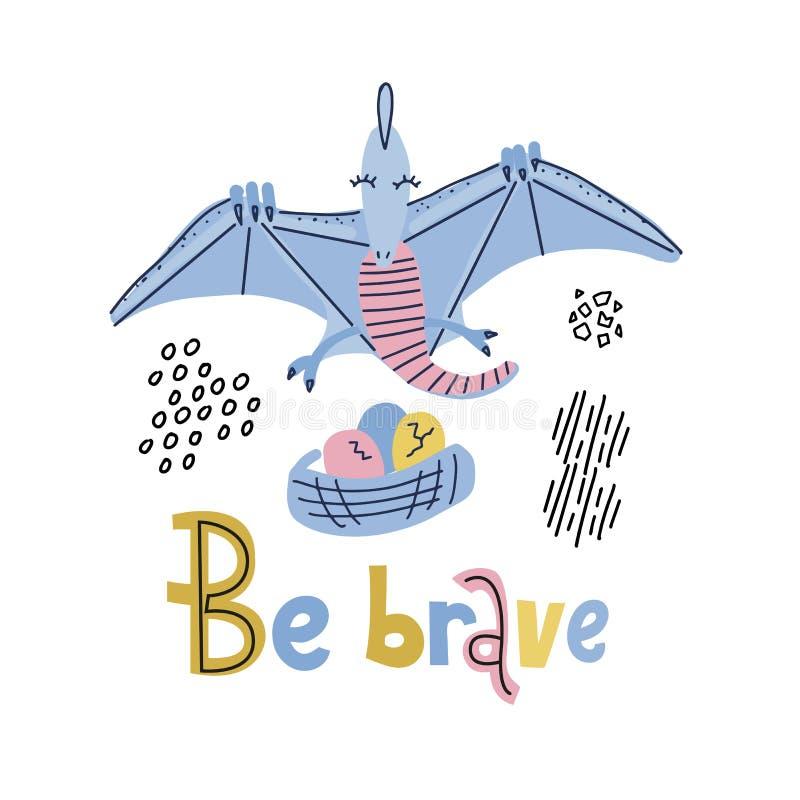 Шаблон карты с милым летанием pterodactyl Dino над гнездом с яйцами Храбрый помечающ буквами смешную, комичную цитату с летанием иллюстрация штока